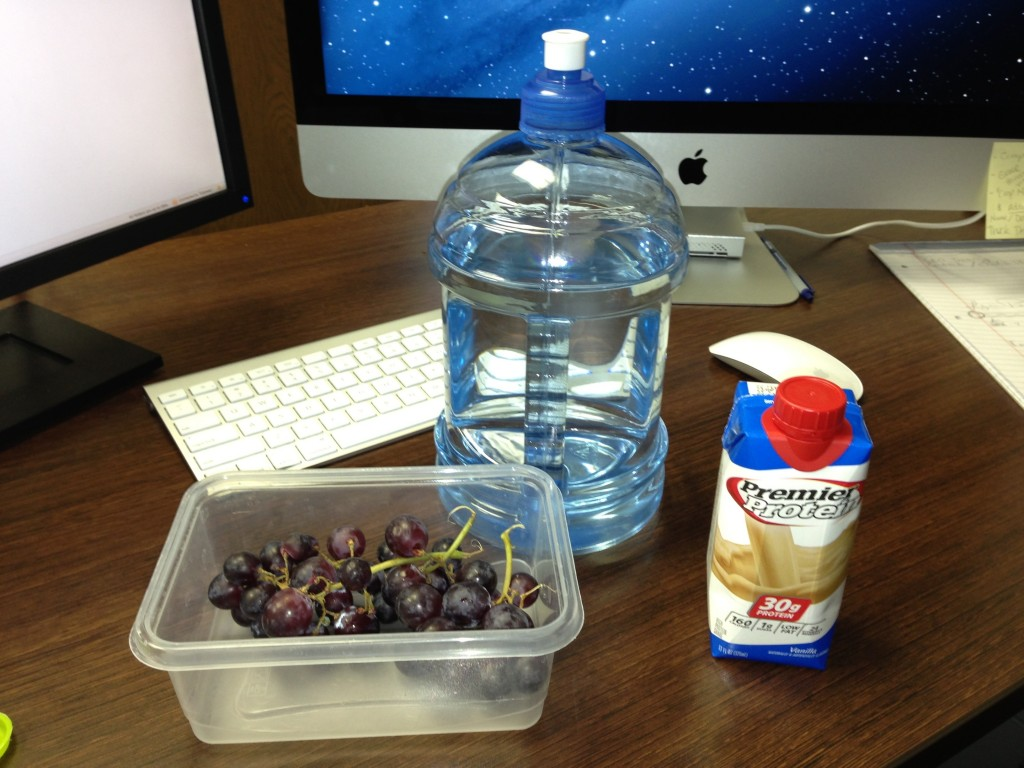Jug of water, Grapes & Premier Protein Shake